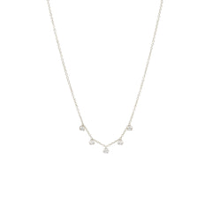 Zoë Chicco 14kt White Gold 5 Prong Set Diamond Station Necklace