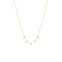 Zoë Chicco 14kt Yellow Gold 5 Prong Set Diamond Station Necklace