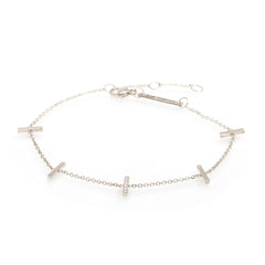 14k pave diamond vertical tiny bars bracelet