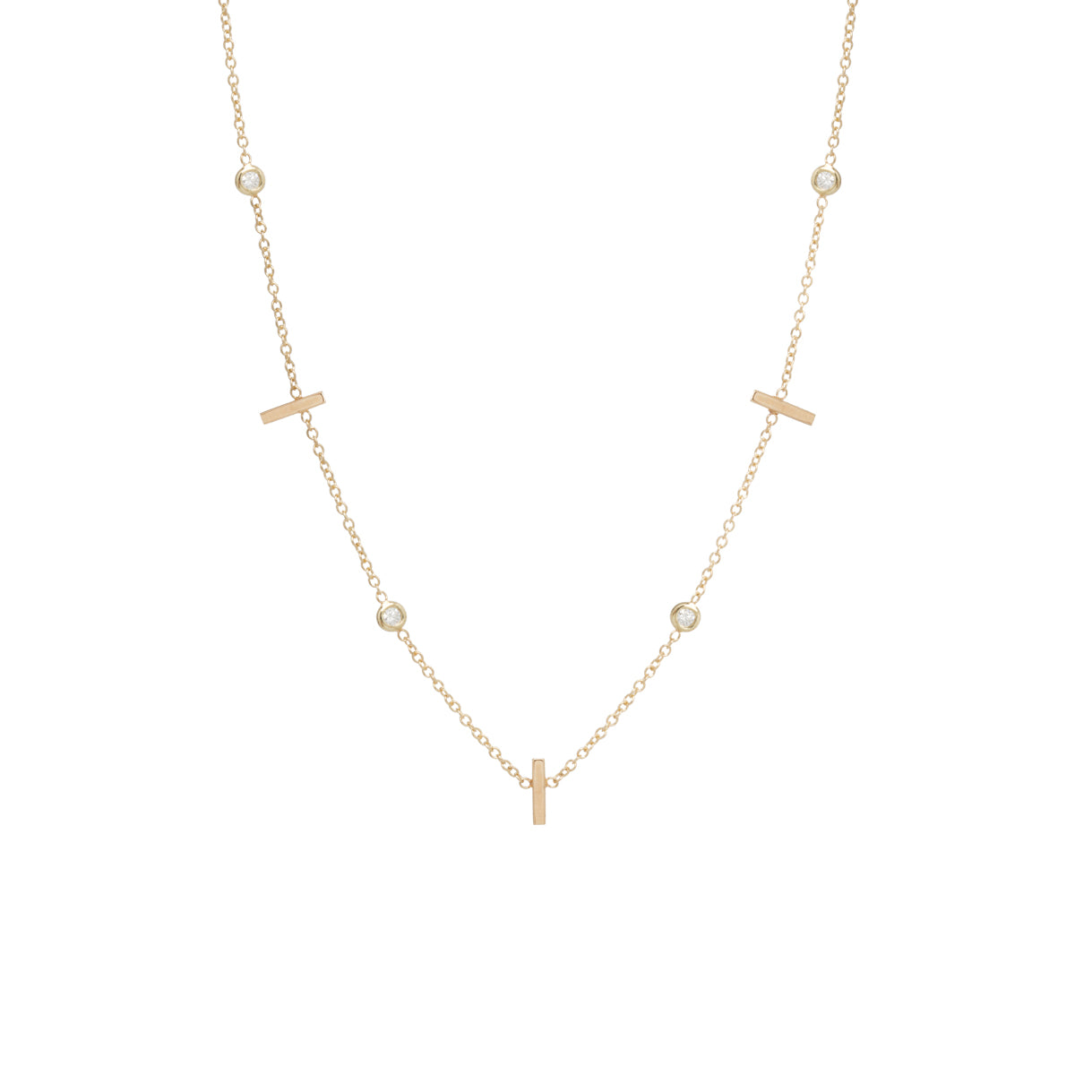 14k 5 vertical tiny bars with floating diamonds station necklace