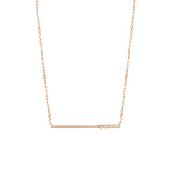 14k bezel diamond bar necklace