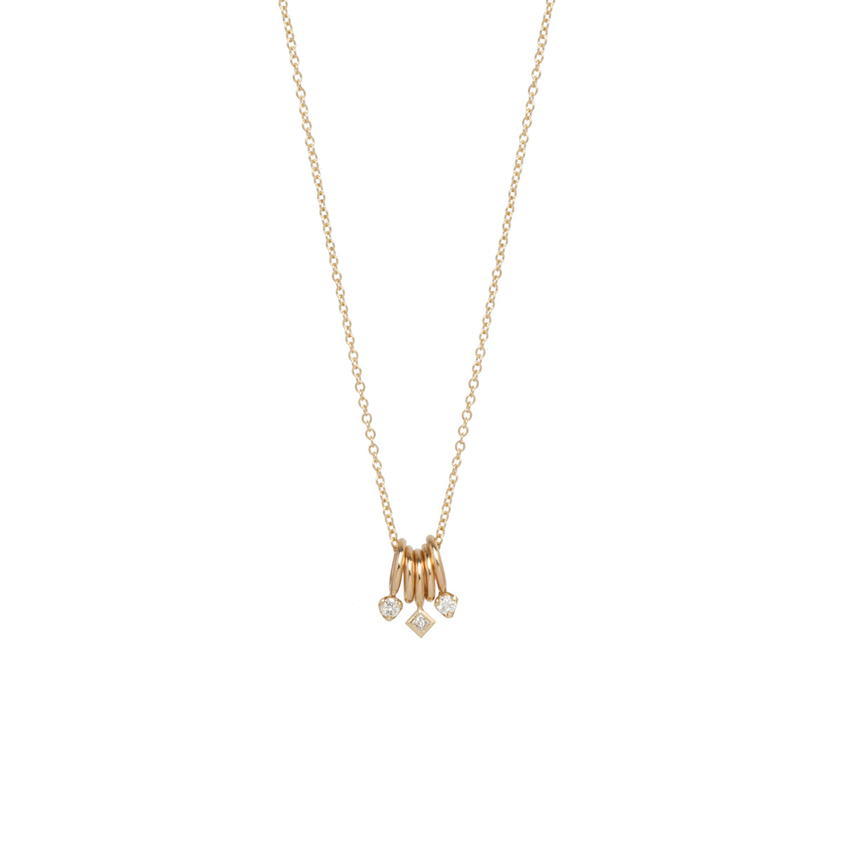 14k gold 5 tiny rings necklace with mixed diamonds