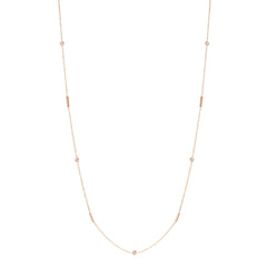 Zoe Chicco 14kt Rose Gold Floating White Diamond and Tiny Bars Long Station Necklace