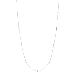 Zoe Chicco 14kt White Gold Floating White Diamond and Tiny Bars Long Station Necklace