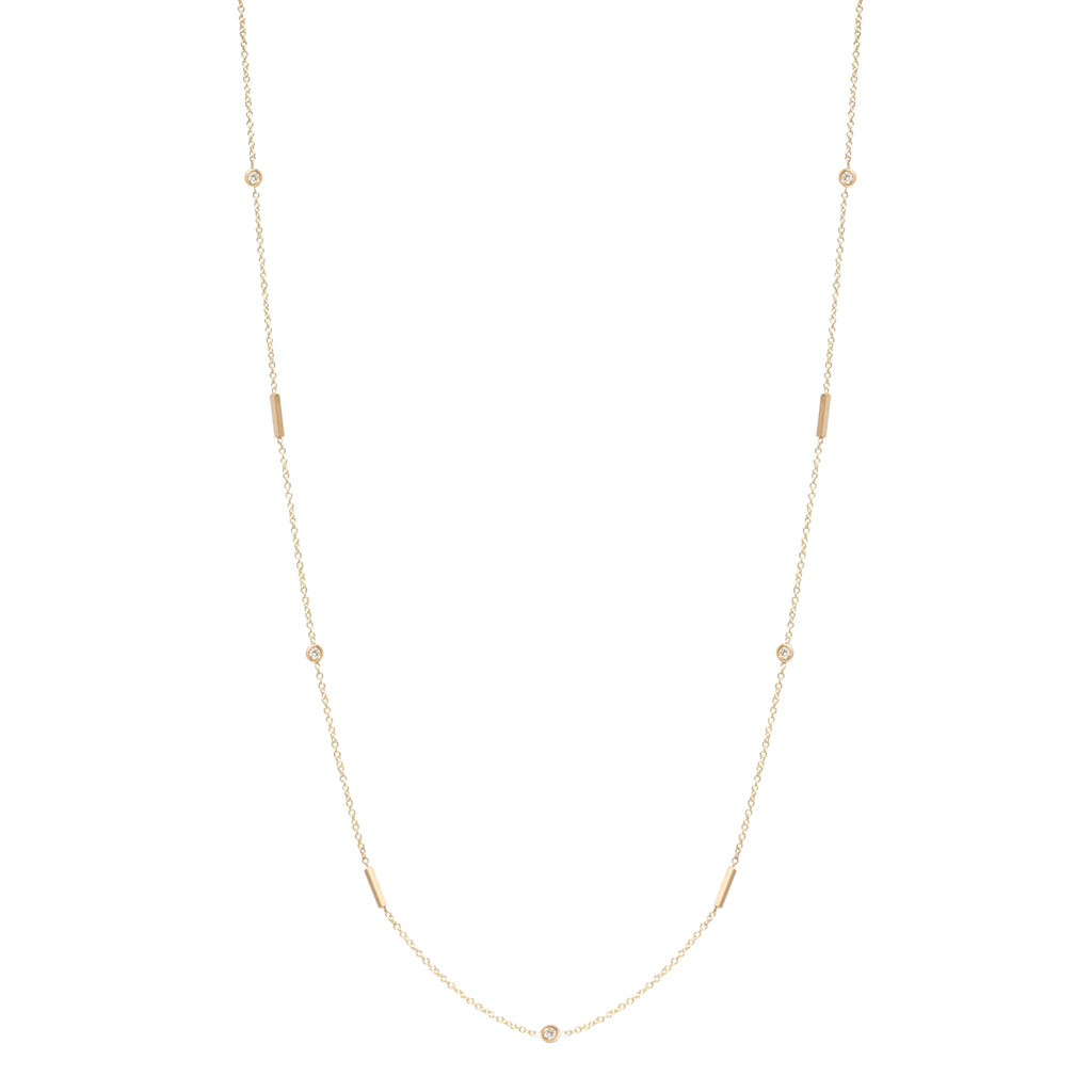 Zoe Chicco 14kt Yellow Gold Floating White Diamond and Tiny Bars Long Station Necklace