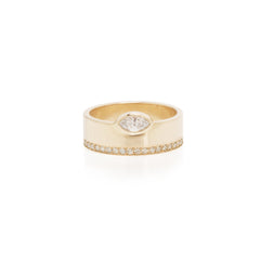 14k pave and marquis diamond wide flat band