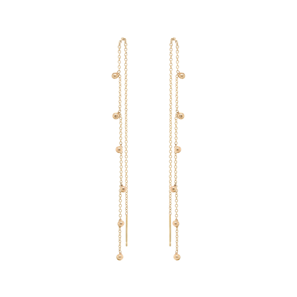 14k scattered bead chain threaders