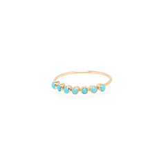 14k 7 turquoise stones ring