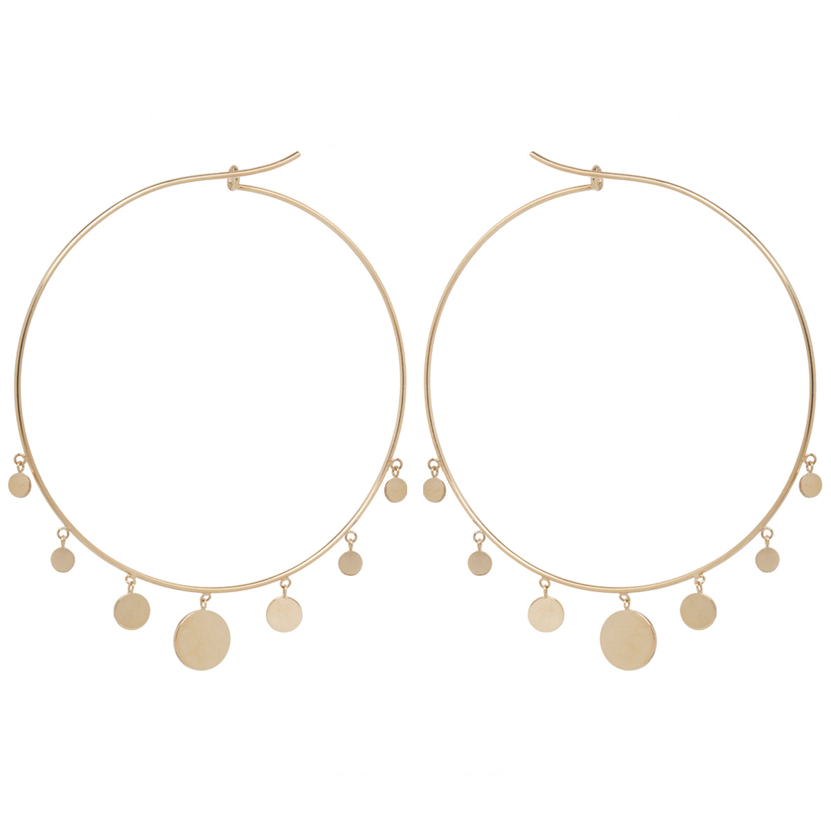 14k 7 dangling graduated discs extra large hoops