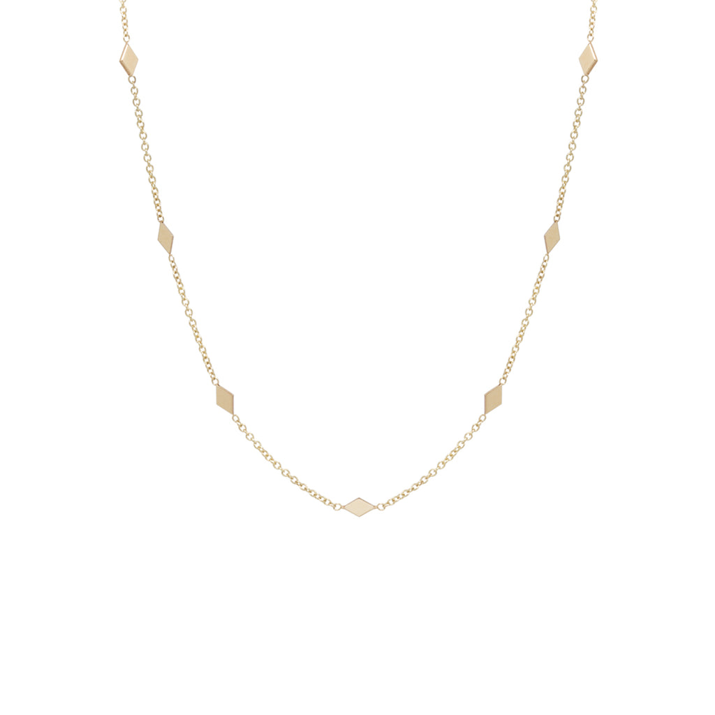 Zoë Chicco 14kt Yellow Gold 7 Diamond Shape Choker Necklace