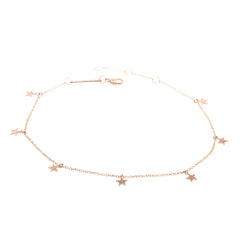 Zoë Chicco 14kt Rose Gold Itty Bitty 7 Dangling Stars Anklet