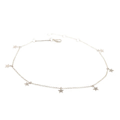 Zoë Chicco 14kt White Gold Itty Bitty 7 Dangling Stars Anklet