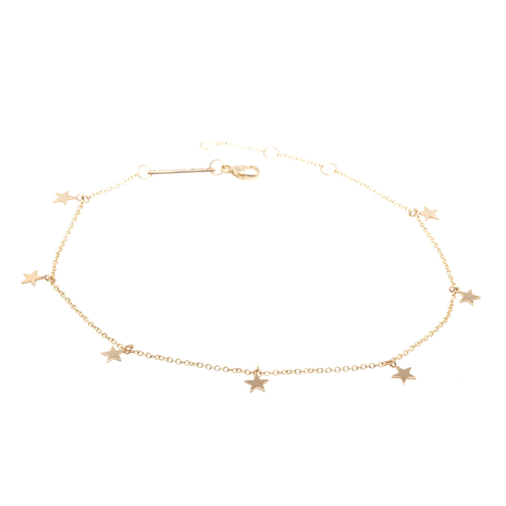 Zoë Chicco 14kt Yellow Gold Itty Bitty 7 Dangling Stars Anklet