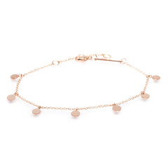 Zoë Chicco 14kt Rose Gold 7 Itty Bitty Round Disc Charm Anklet