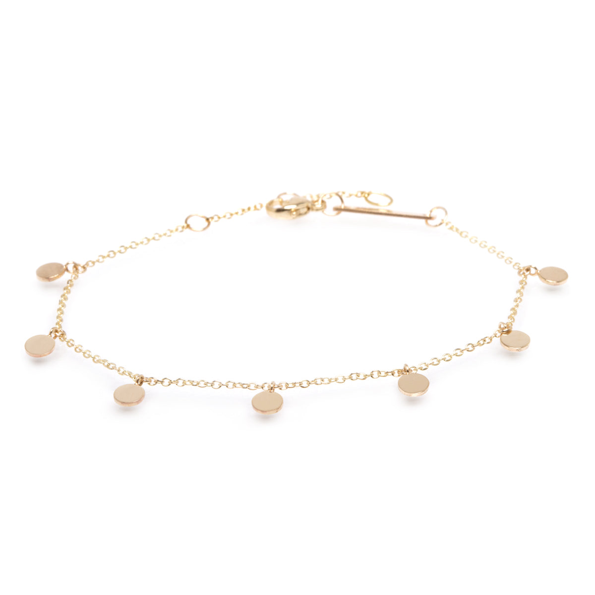 Zoë Chicco 14kt Yellow Gold 7 Itty Bitty Round Disc Charm Anklet