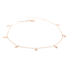 Zoë Chicco 14kt Rose Gold Itty Bitty 7 Dangling Stars Bracelet