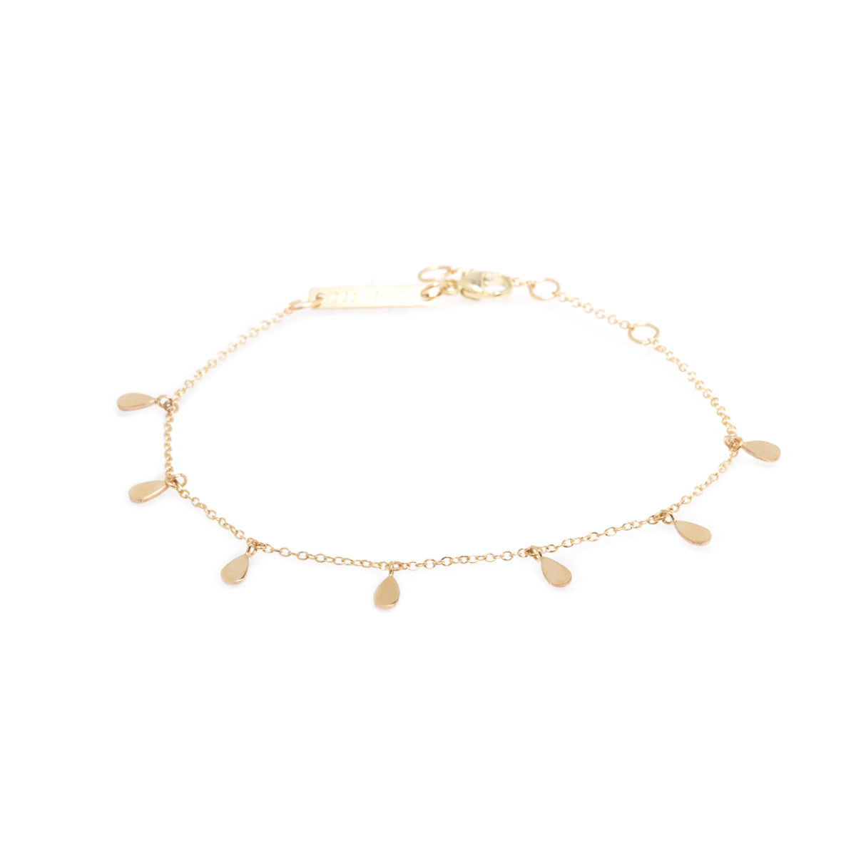 Zoë Chicco 14kt Yellow Gold 7 Itty Bitty Tear Charm Bracelet