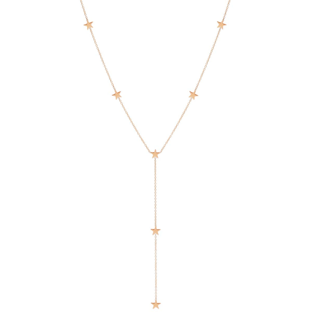 Zoë Chicco 14kt Yellow Gold Itty Bitty 7 Star Lariat Necklace
