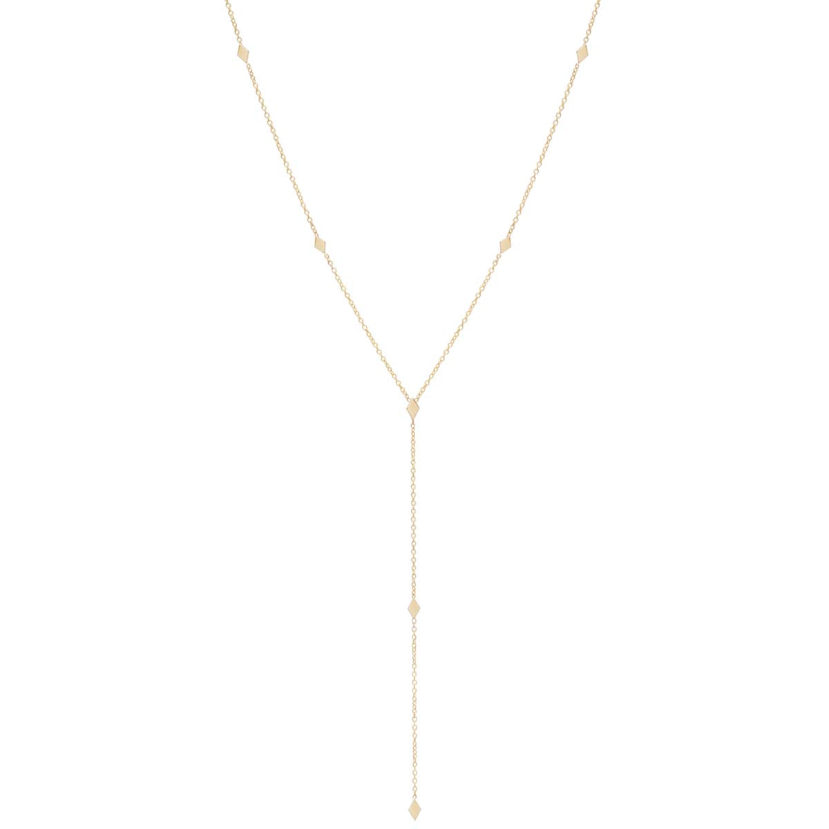 14k itty bitty diamond shape lariat