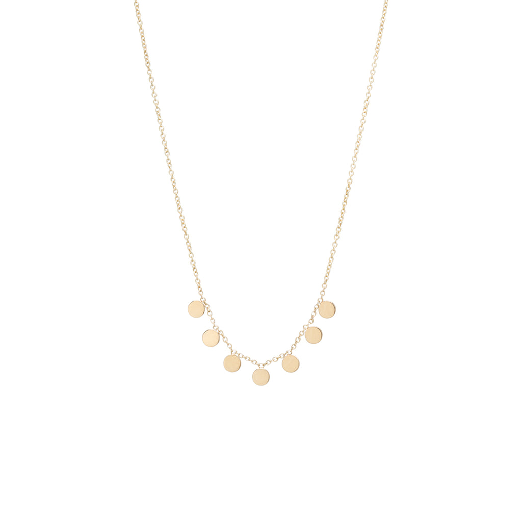 Zoë Chicco 14kt Yellow Gold 7 Itty Bitty Round Disc Necklace