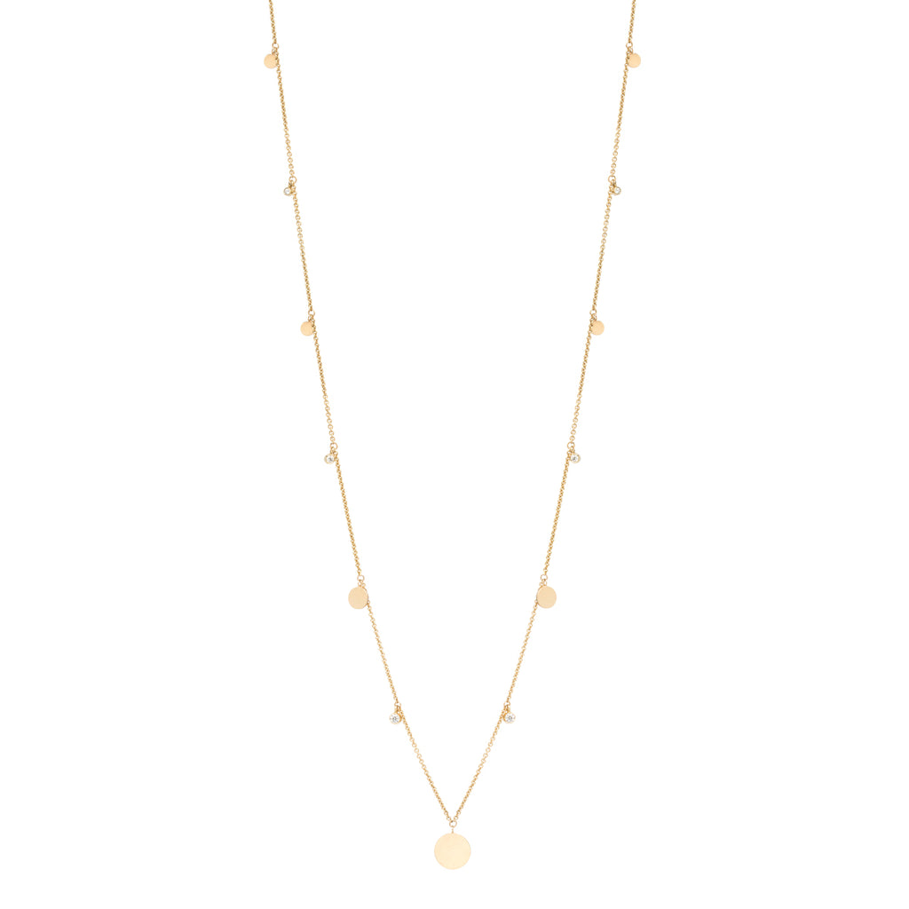14k long graduated discs and diamonds necklace