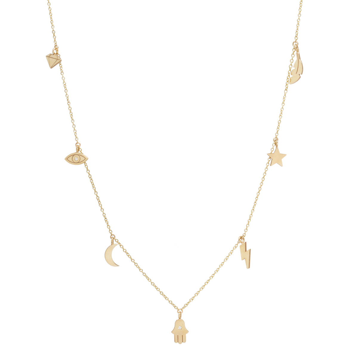 14k 7 dangling midi bitty charm necklace