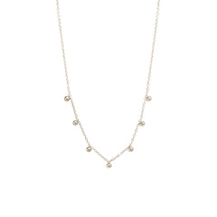14k 7 scattered tiny beads necklace