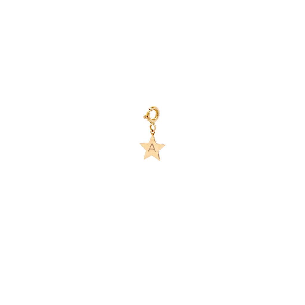 14k medium initial star charm pendant with spring ring