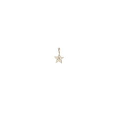 14k single medium initial star charm pendant