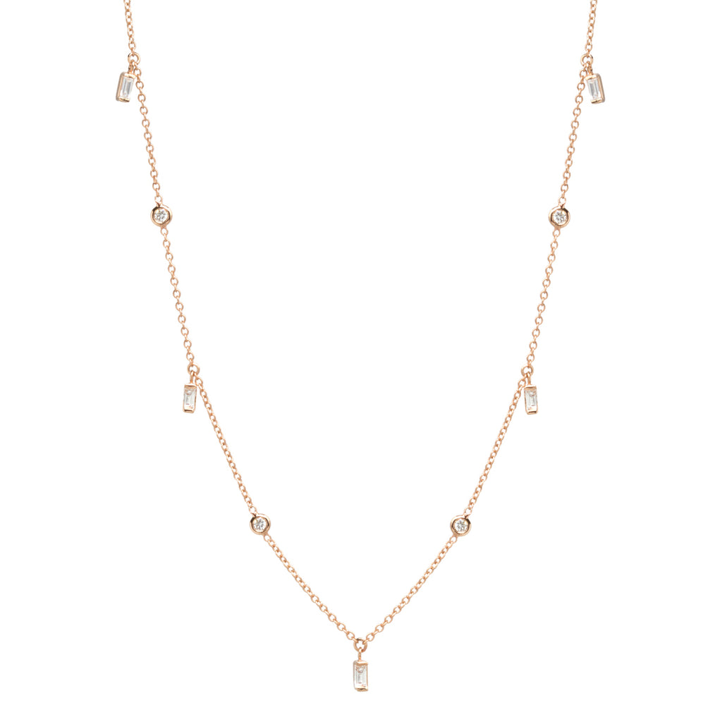 14k Baguette and Floating Diamond Station Necklace