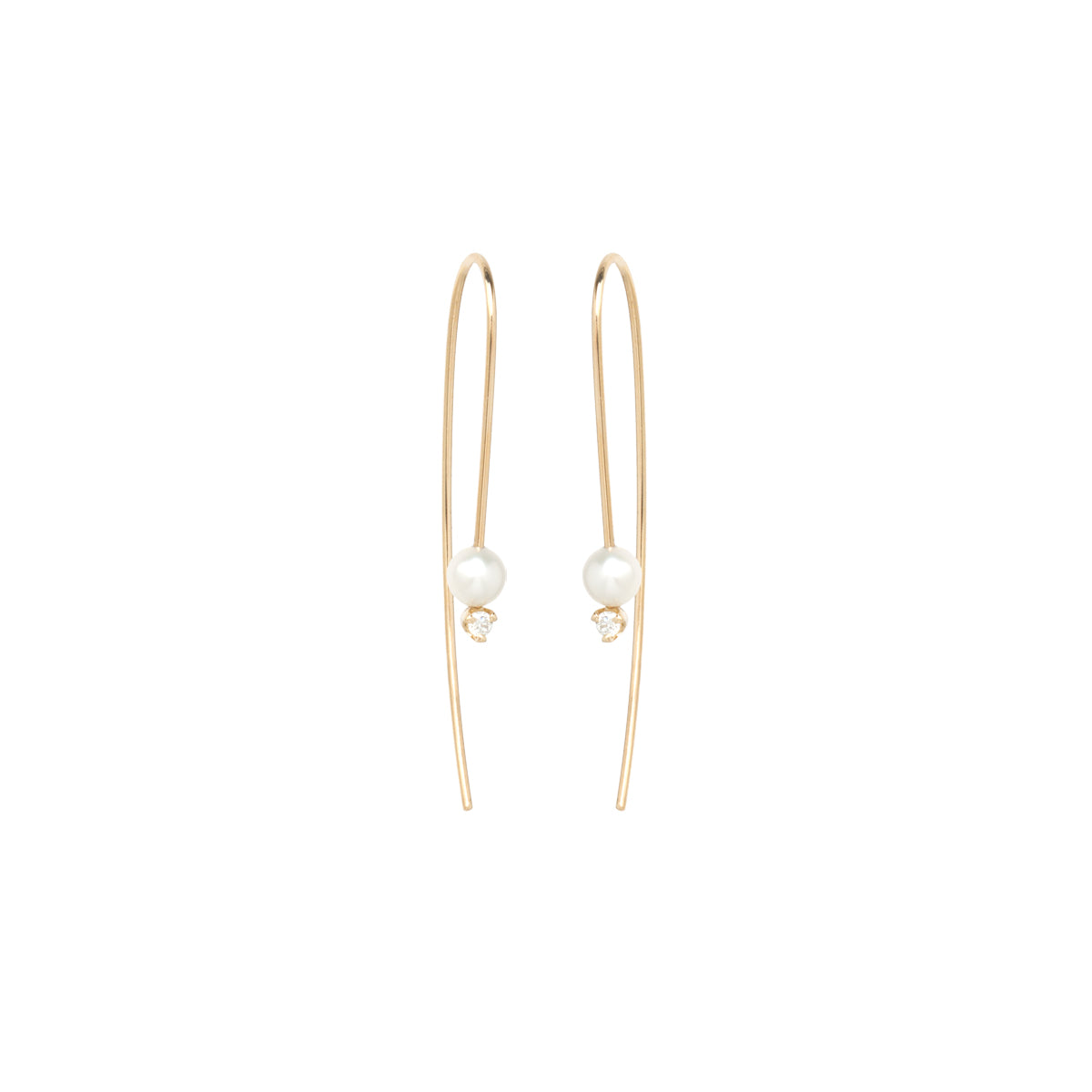 14k gold wire pearl and diamond earrings