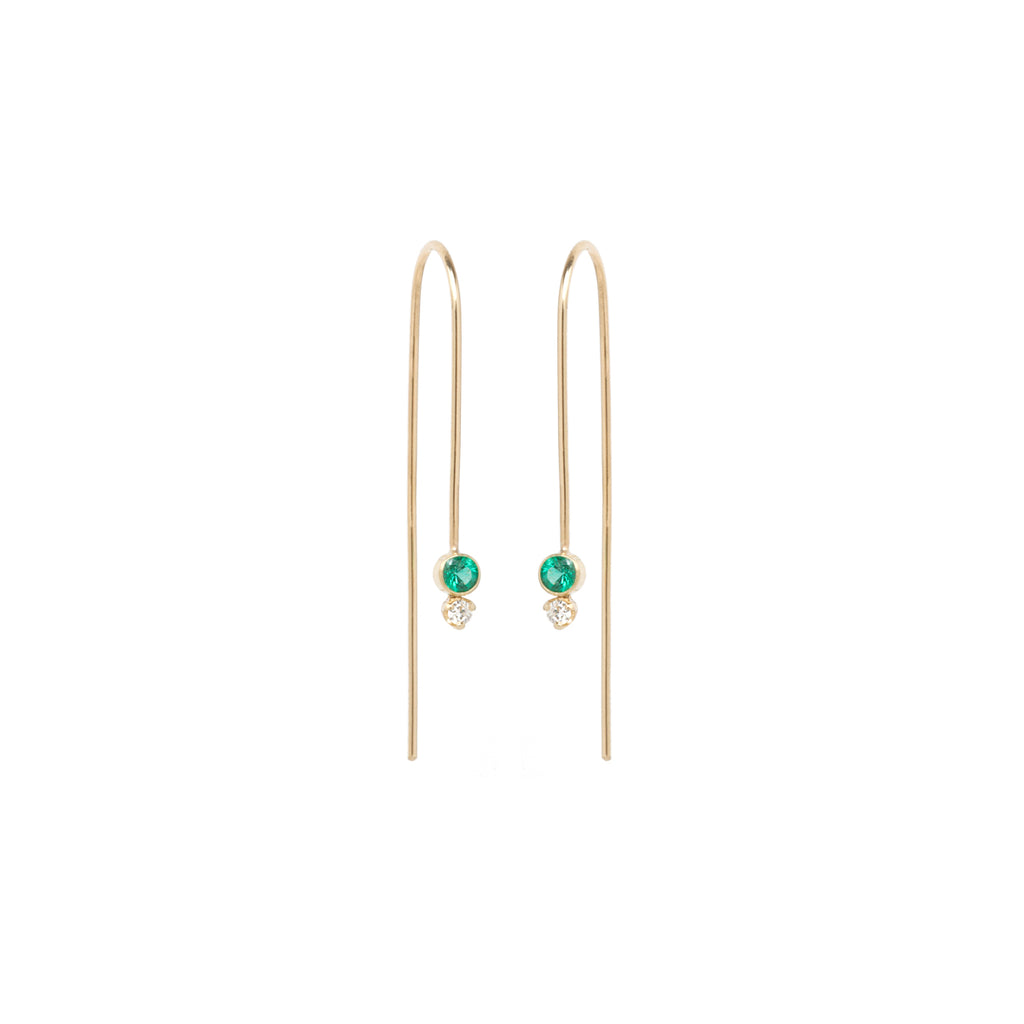 14k emerald and diamond wire earrings