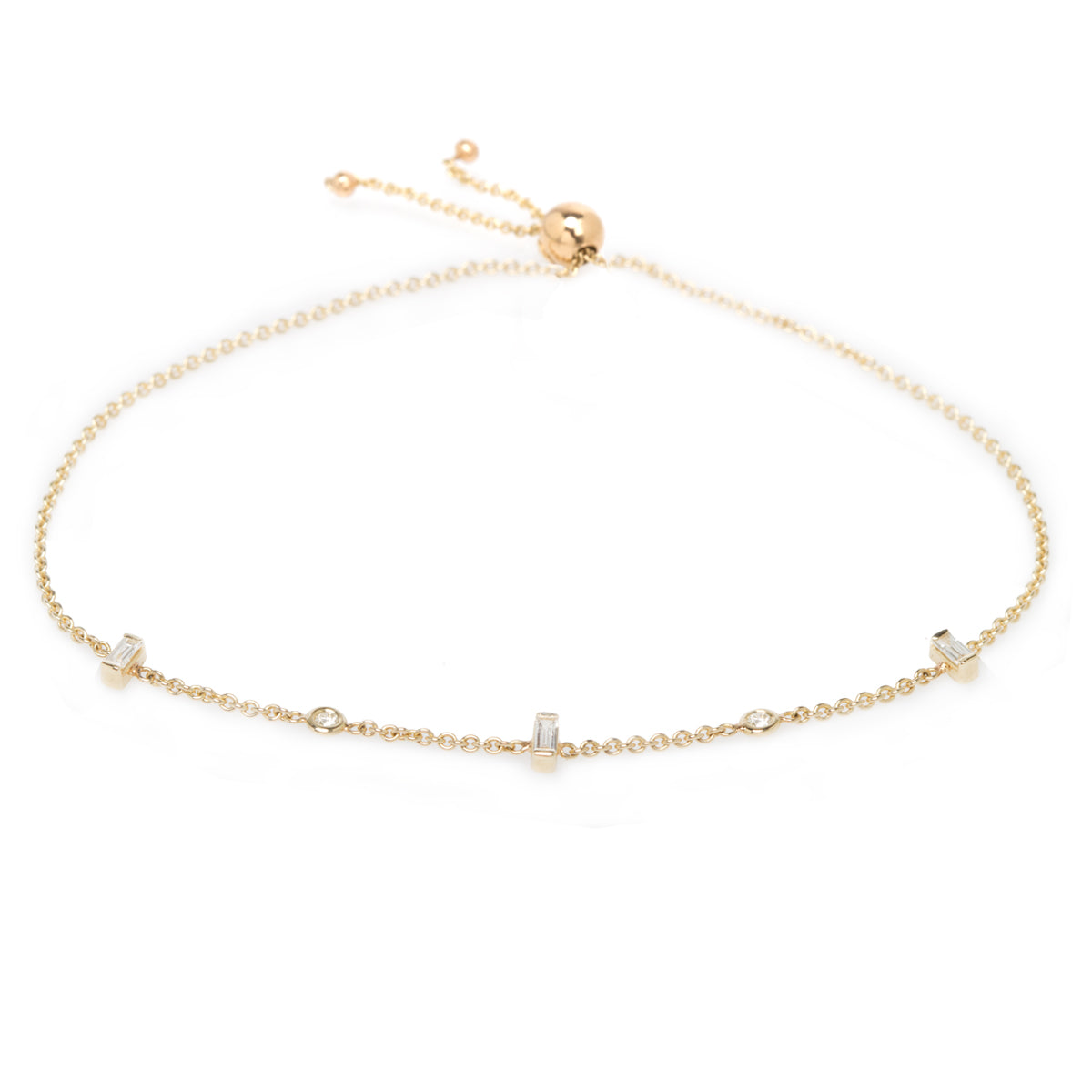 14k floating and baguette diamond bolo bracelet