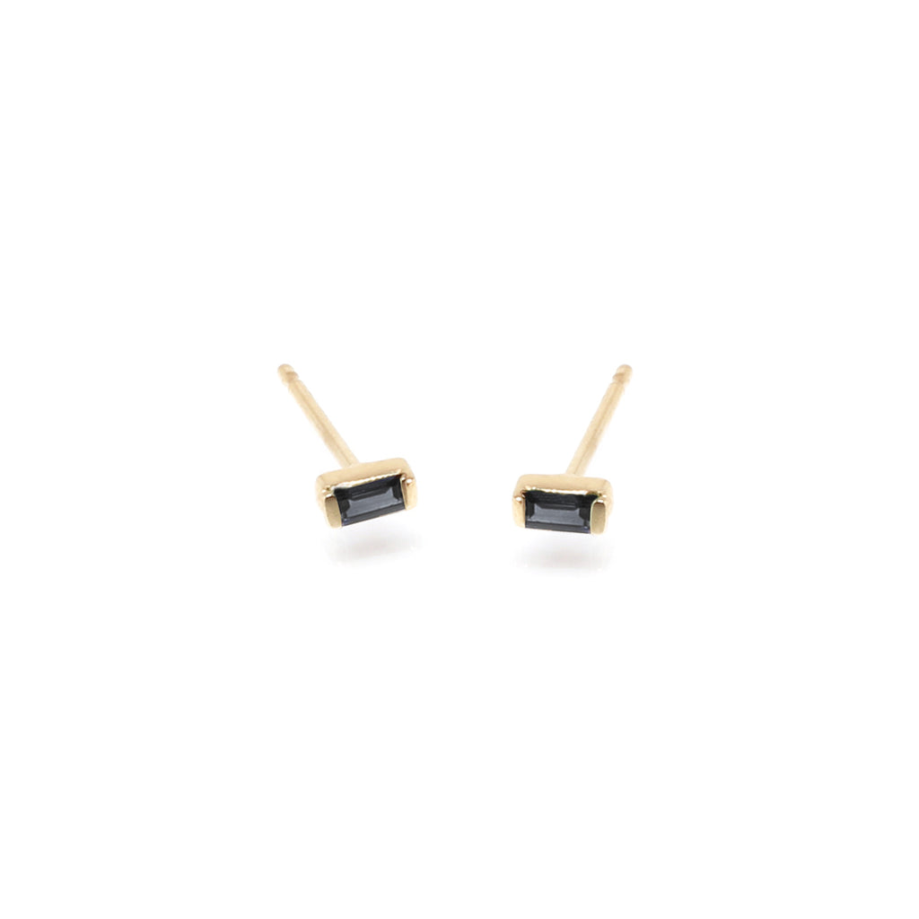 14k black diamond baguette studs