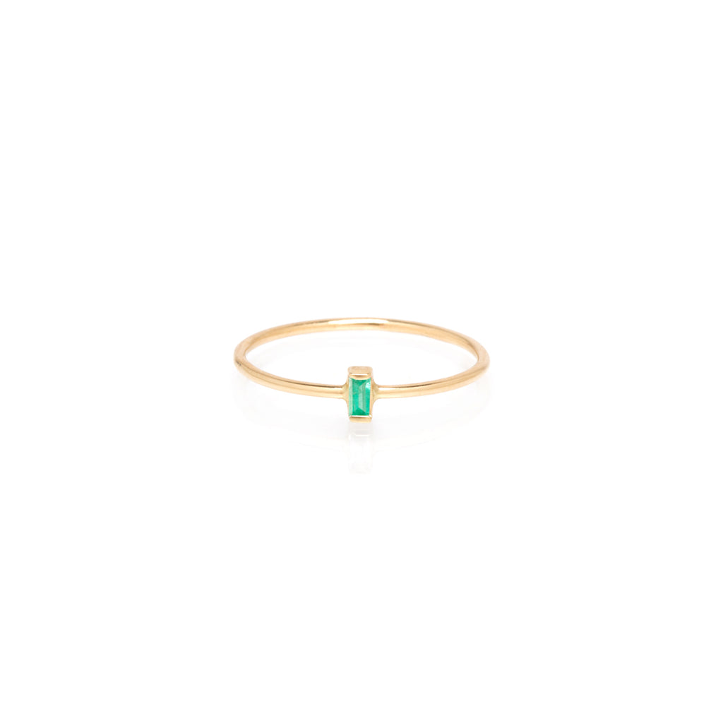 14k vertical emerald baguette ring