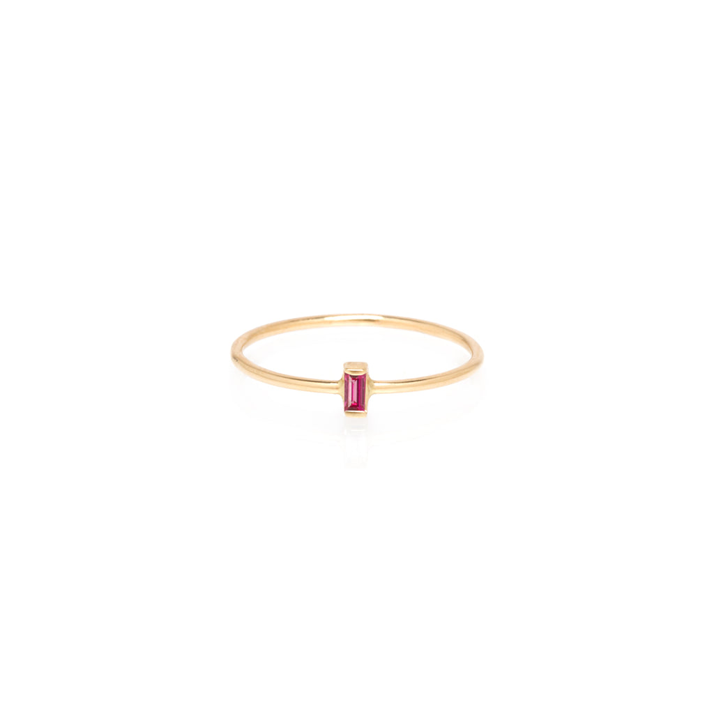 14k vertical ruby baguette ring