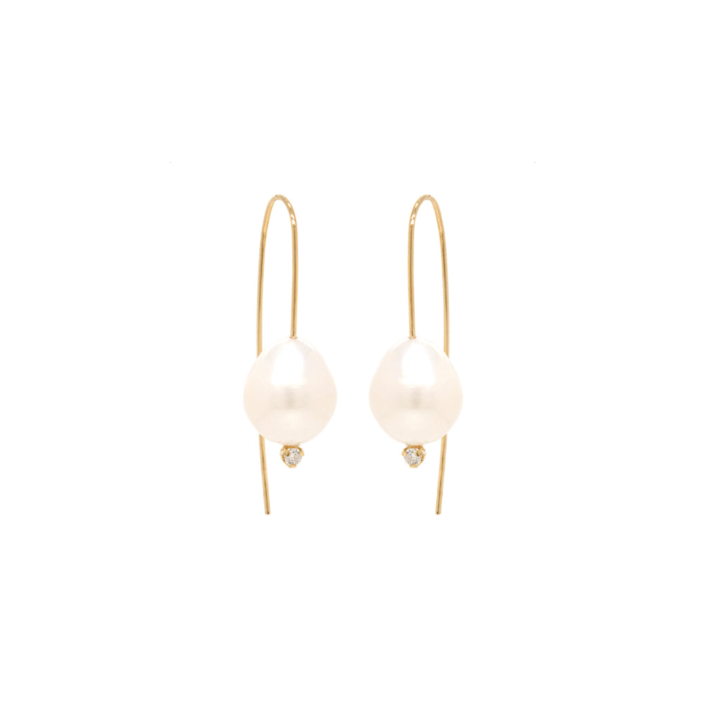 14k gold wire earrings with baroque pearls and prong set diamonds