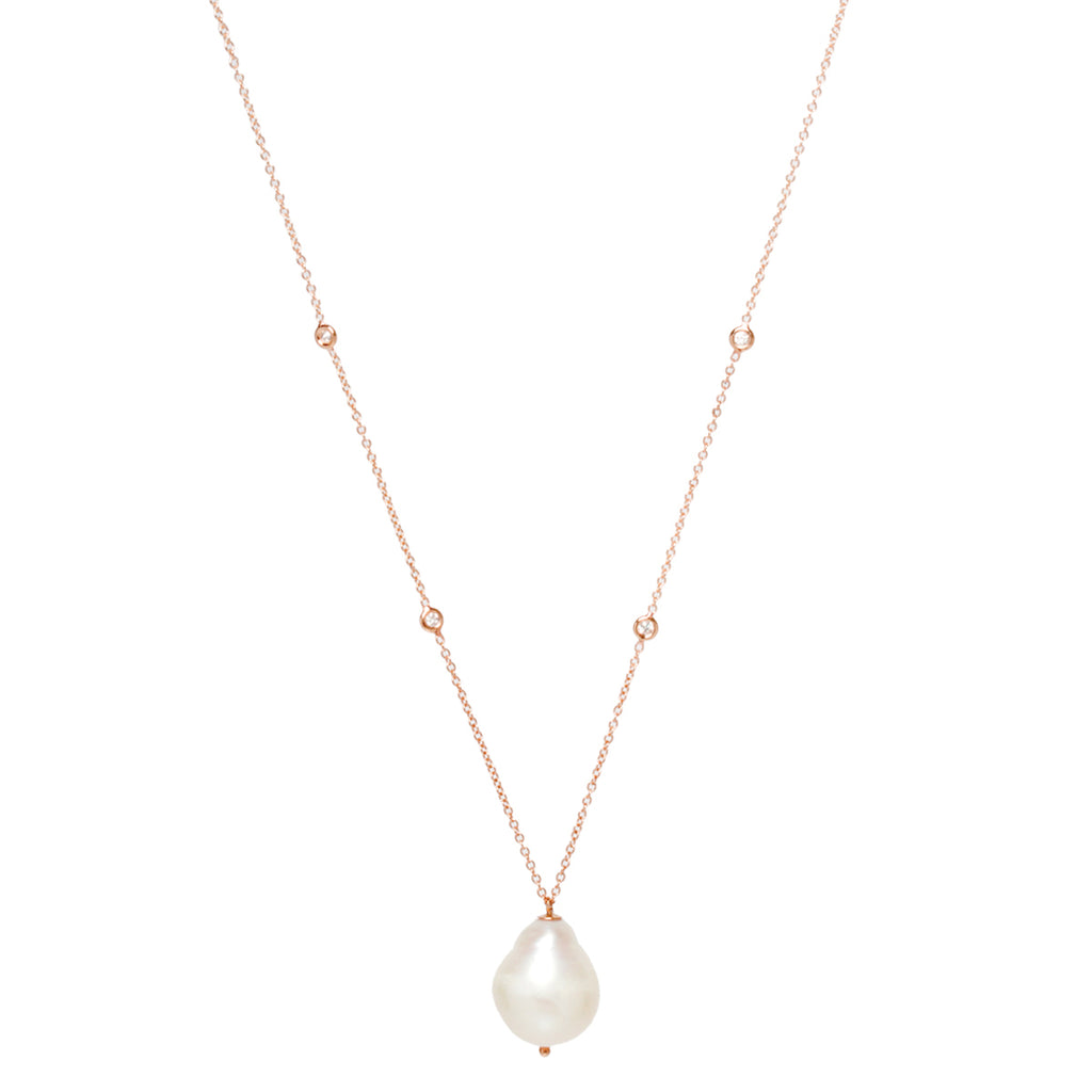 14k baroque pearl and floating diamond necklace