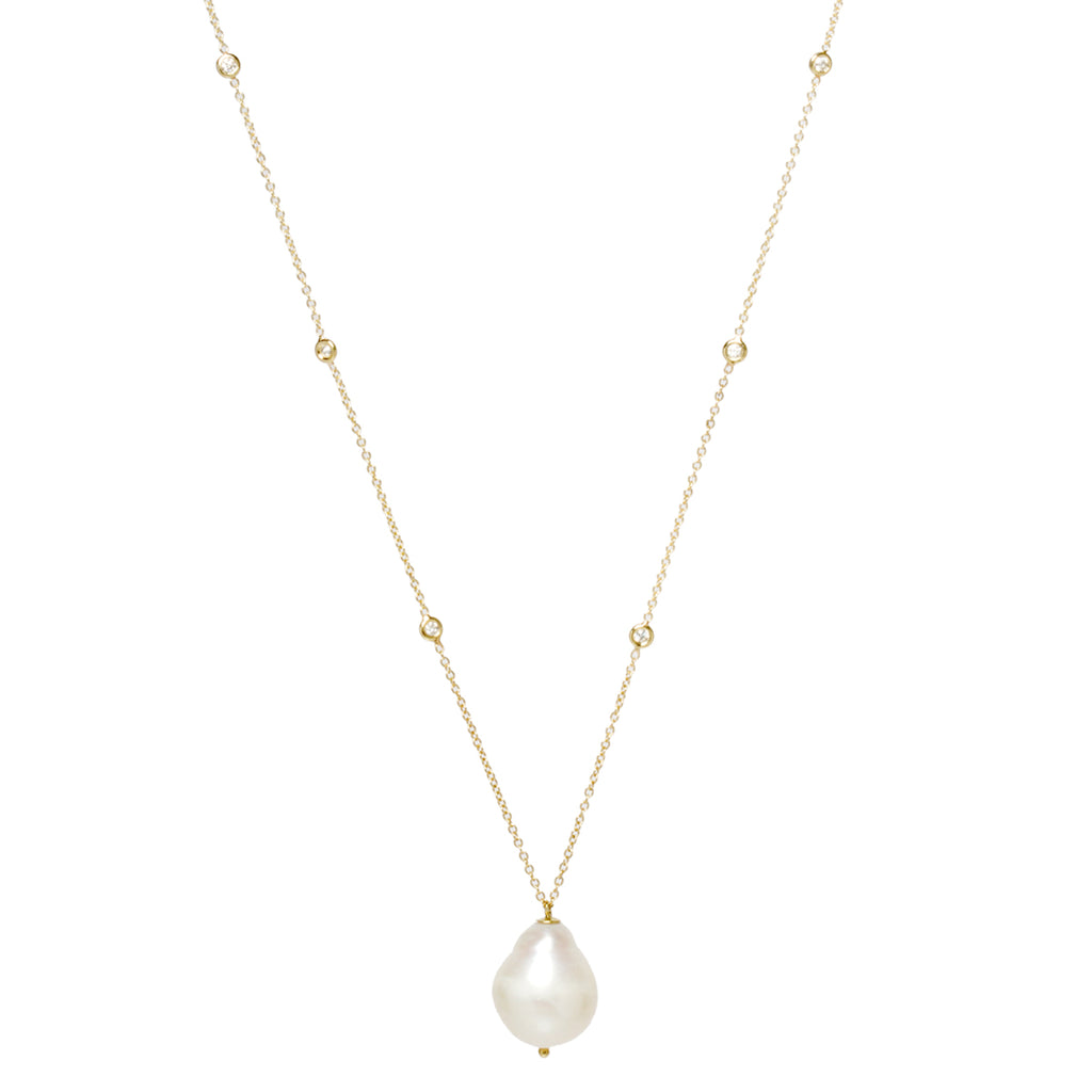 14k baroque pearl and 6 floating diamond necklace