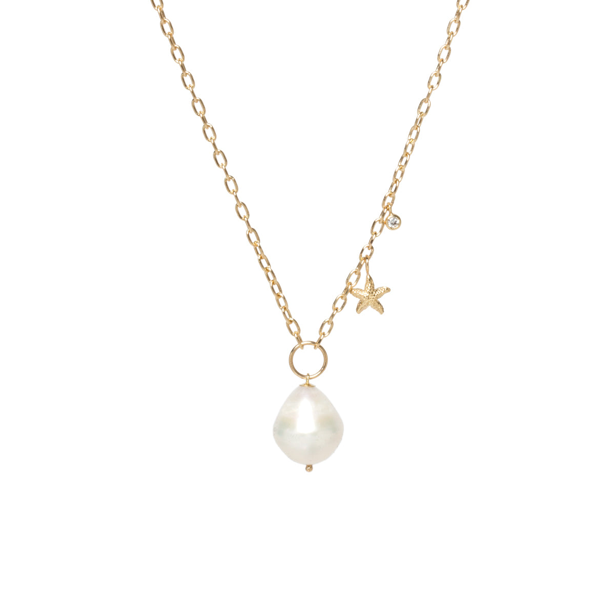 14k baroque pearl, starfish & diamond charm necklace