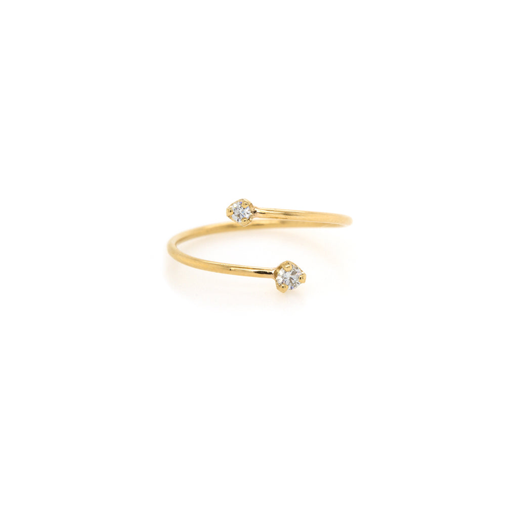 14k prong diamond bypass ring