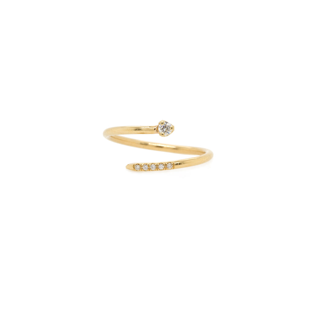 14k pave and prong diamond bypass ring