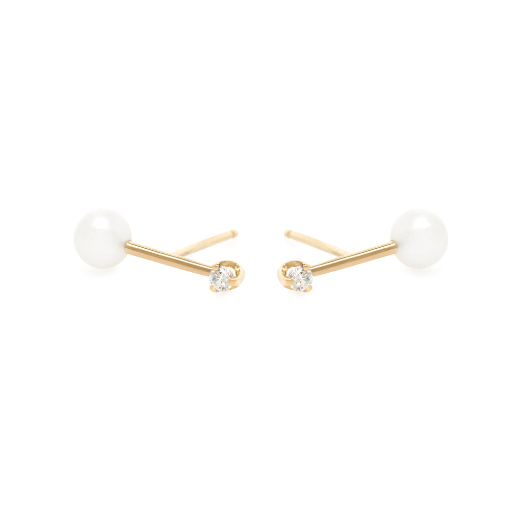 14k gold barbell diamond and pearl studs
