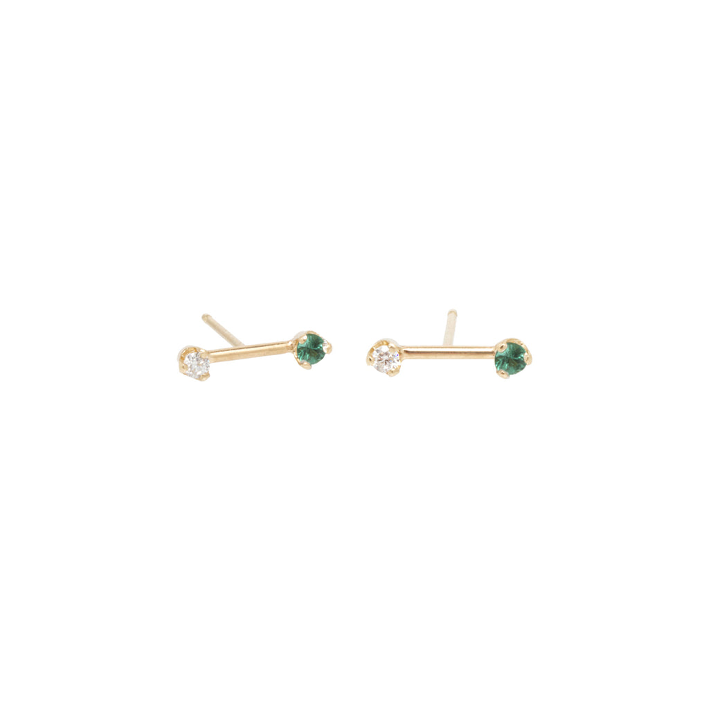 14k gold barbell diamond and emerald studs