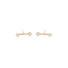 14k gold barbell prong and princess diamond studs