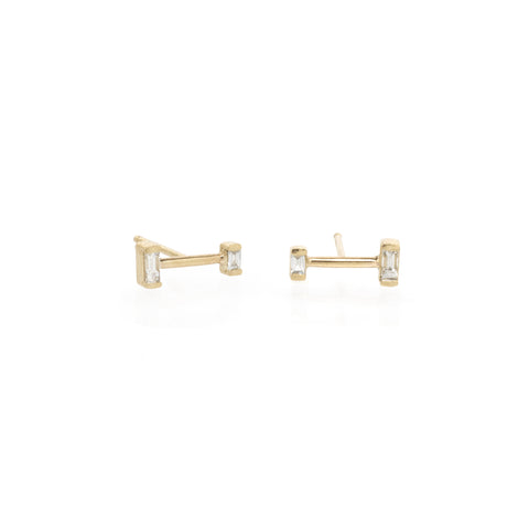 14k gold barbell baguette diamond studs