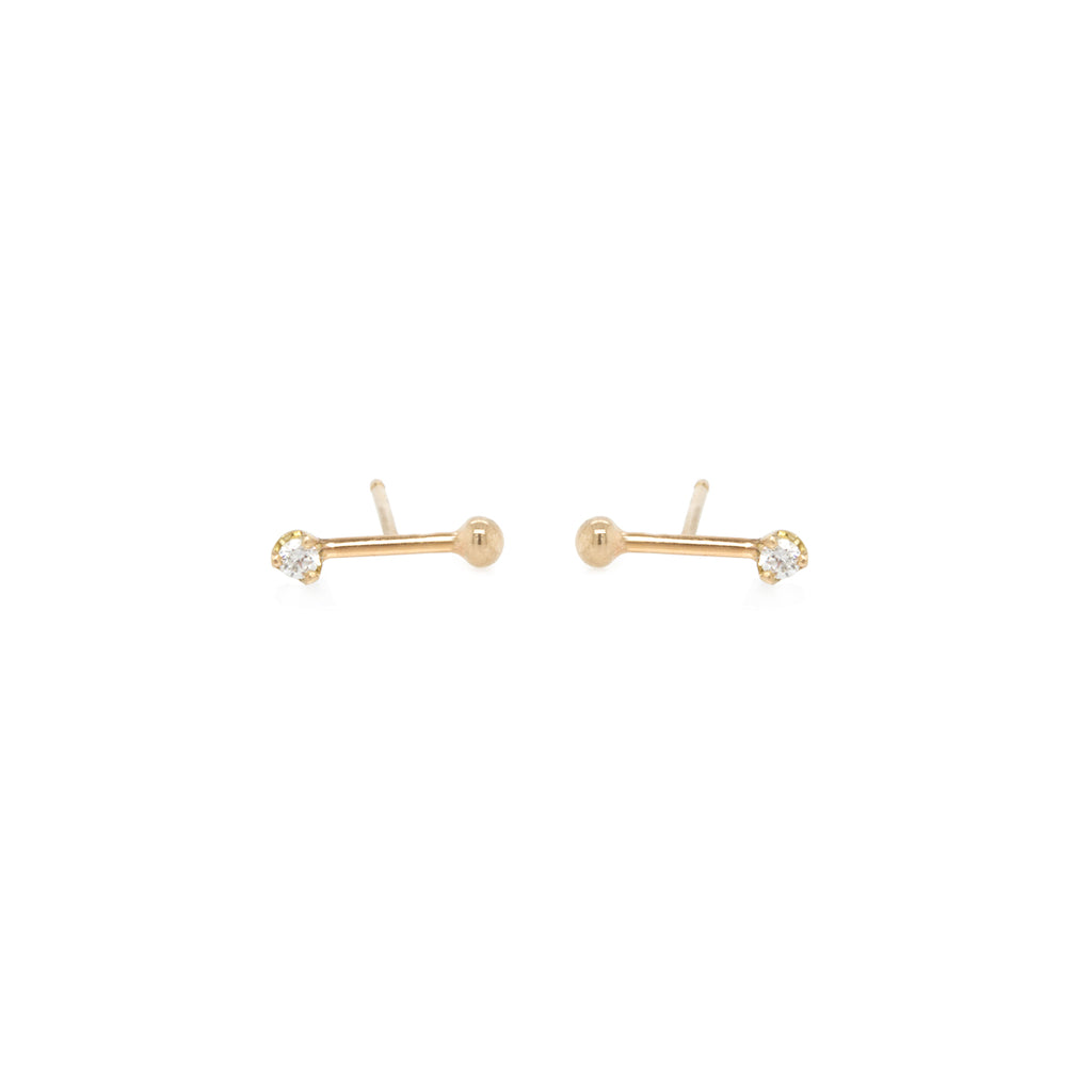 14k gold bead and prong diamond barbell studs