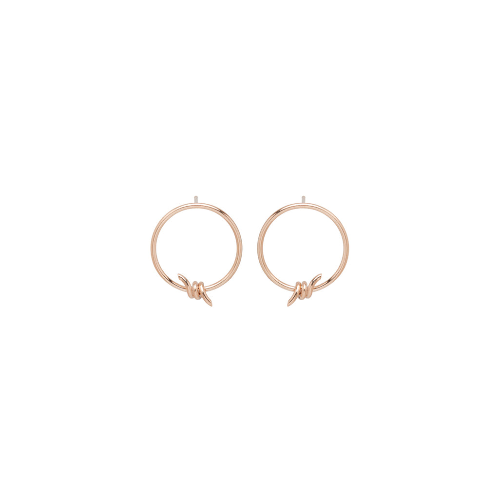 14k small barbed wire front facing hoops