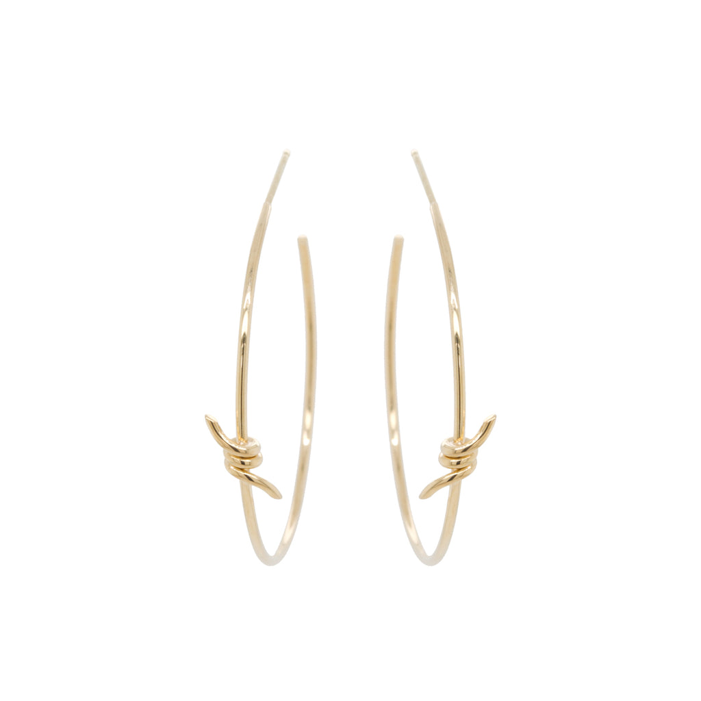 14k barbed wire medium hoop earrings