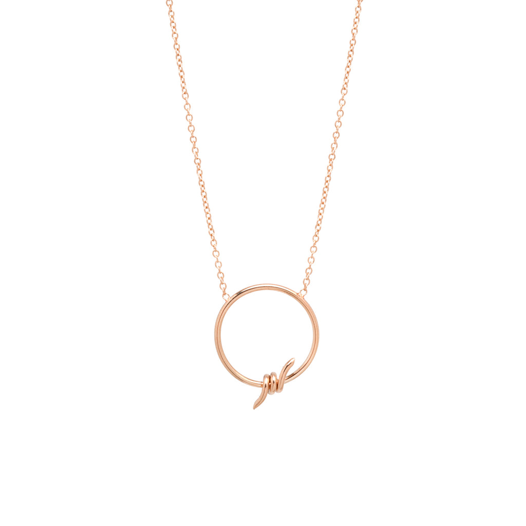 14k circle barbed wire necklace